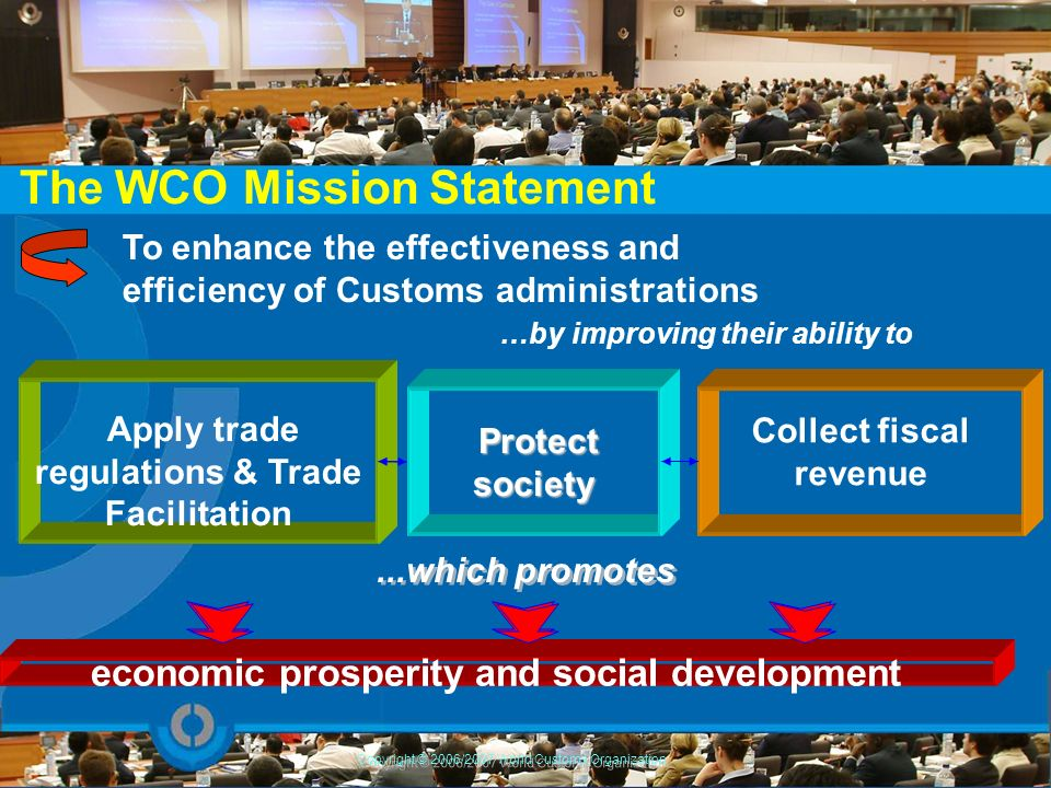The WCO Mission Statement To enhance the effectiveness and efficiency of Customs administrations …by improving their ability to economic prosperity an