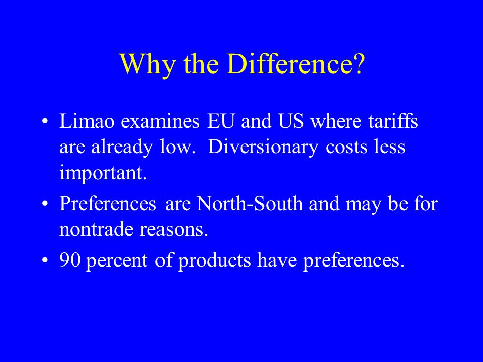 Why the Difference? Limao examines EU and US where tariffs are already low. Diversionary costs less important. Preferences are North-South and may be