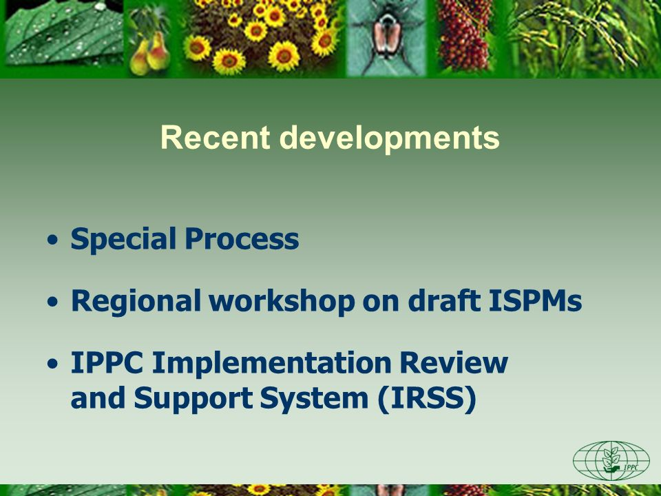 Recent developments Special Process Regional workshop on draft ISPMs IPPC Implementation Review and Support System (IRSS)