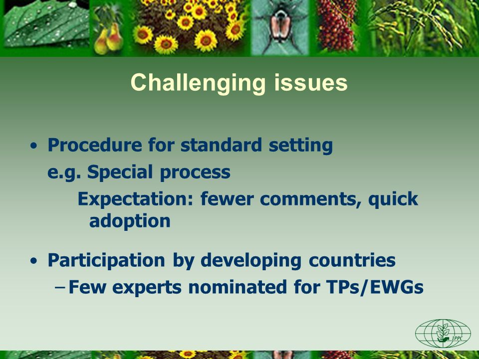 Challenging issues Procedure for standard setting e.g. Special process Expectation: fewer comments, quick adoption Participation by developing countri