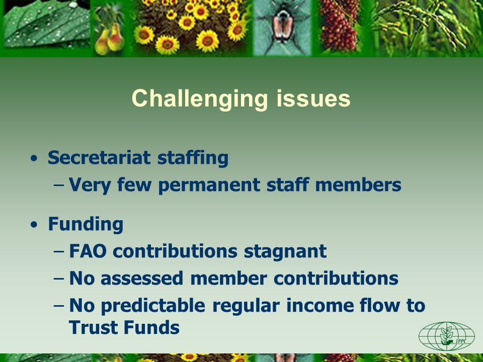 Secretariat staffing –Very few permanent staff members Funding –FAO contributions stagnant –No assessed member contributions –No predictable regular i
