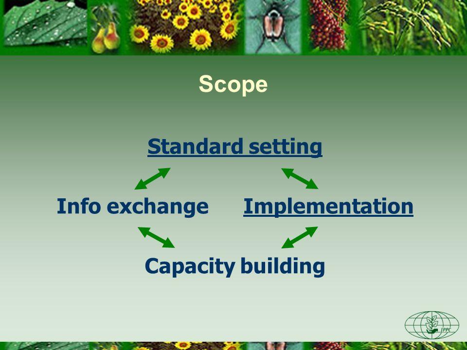 Scope Standard setting Info exchangeImplementation Capacity building