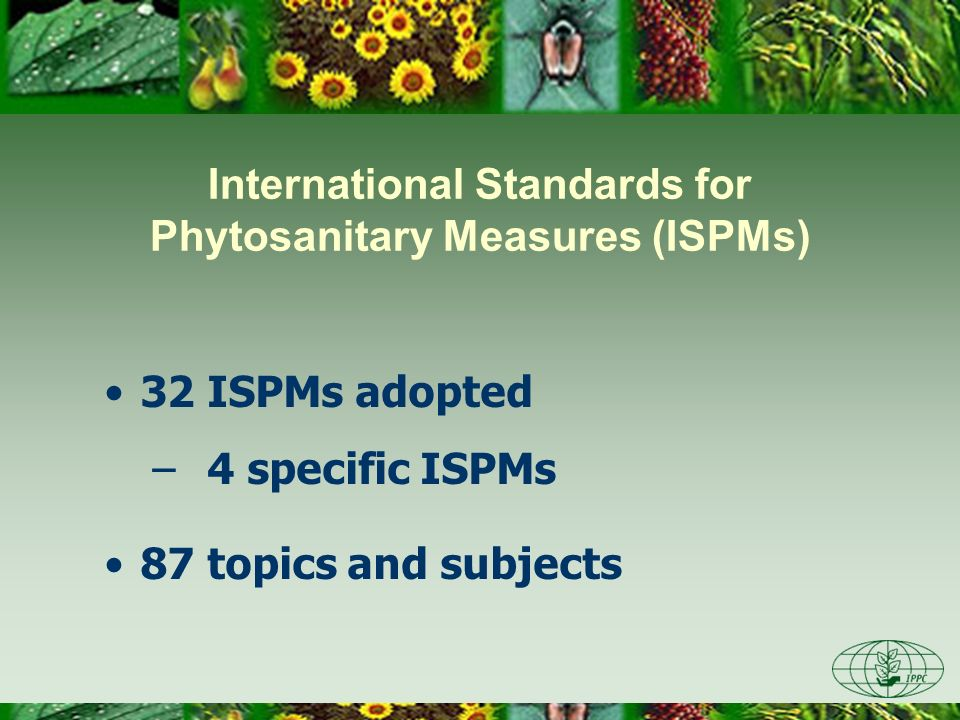 International Standards for Phytosanitary Measures (ISPMs) 32 ISPMs adopted – 4 specific ISPMs 87 topics and subjects