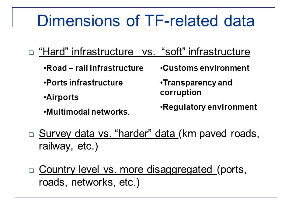 Dimensions of TF-related data Hard infrastructure vs.