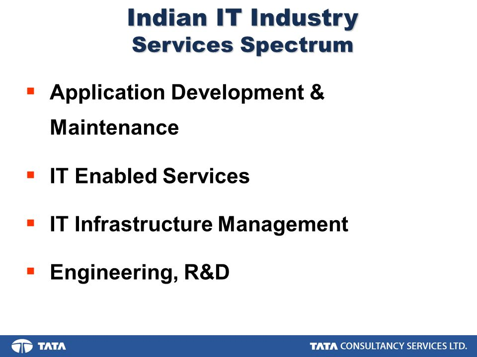 Application Development & Maintenance IT Enabled Services IT Infrastructure Management Engineering, R&D Indian IT Industry Services Spectrum