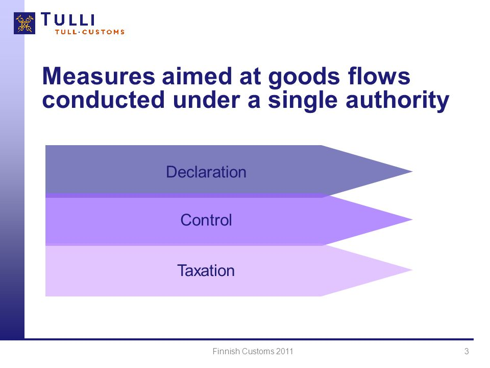 Finnish Customs 20113 Measures aimed at goods flows conducted under a single authority Declaration Control Taxation