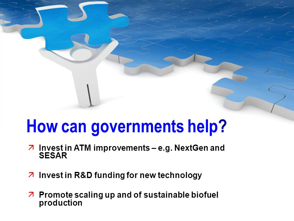 How can governments help? Invest in ATM improvements – e.g. NextGen and SESAR Invest in R&D funding for new technology Promote scaling up and of susta
