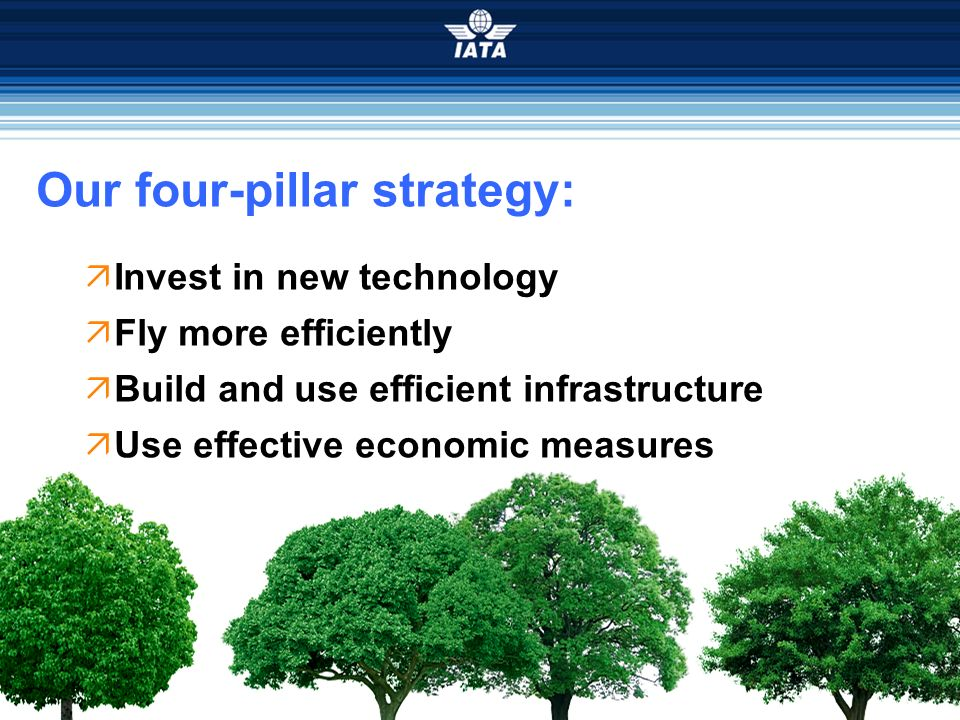 Our four-pillar strategy: Invest in new technology Fly more efficiently Build and use efficient infrastructure Use effective economic measures