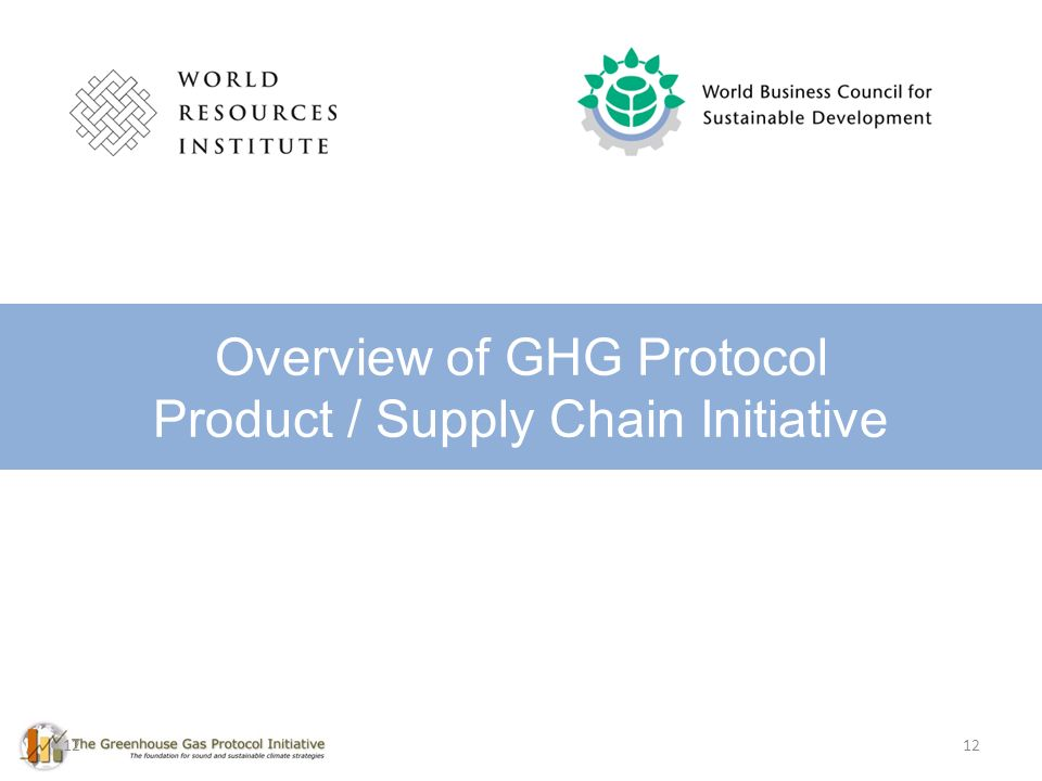 12 Overview of GHG Protocol Product / Supply Chain Initiative 12