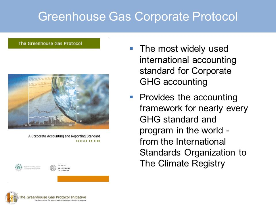 5 Greenhouse Gas Corporate Protocol The most widely used international accounting standard for Corporate GHG accounting Provides the accounting framework for nearly every GHG standard and program in the world - from the International Standards Organization to The Climate Registry