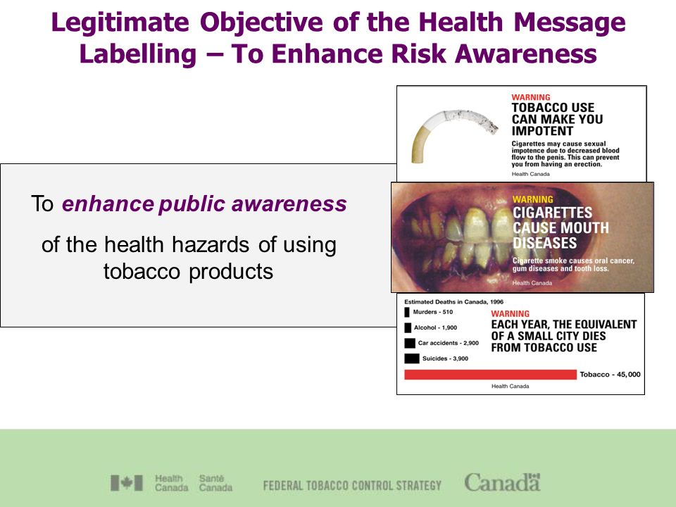 Legitimate Objective of the Health Message Labelling – To Enhance Risk Awareness To enhance public awareness of the health hazards of using tobacco products