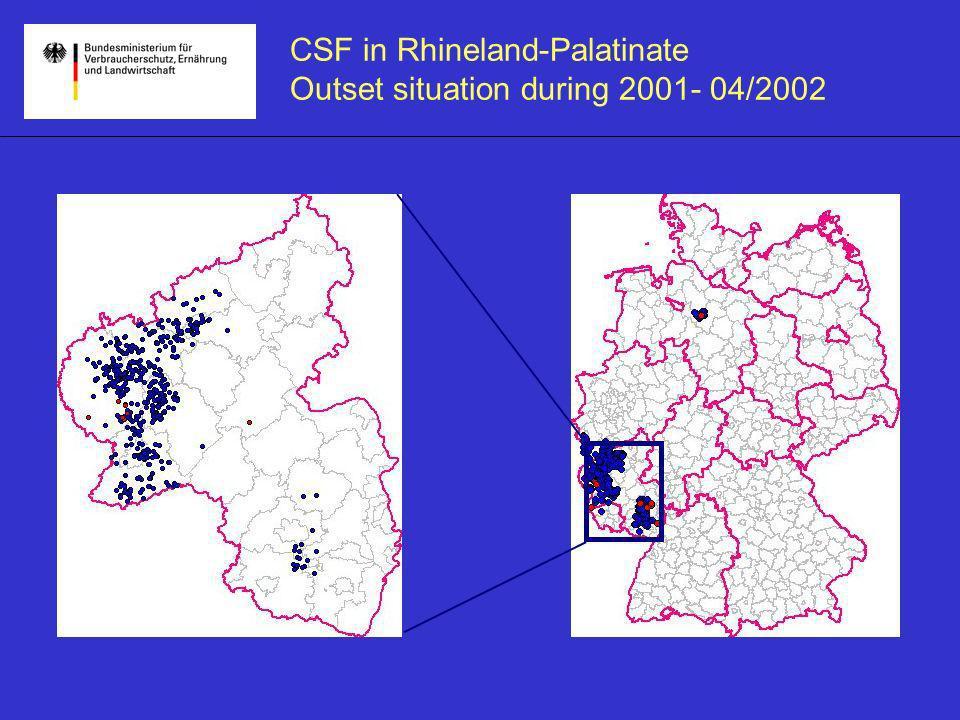 CSF in Rhineland-Palatinate 2001- 04/2002 Domestic pigs Wild pigs
