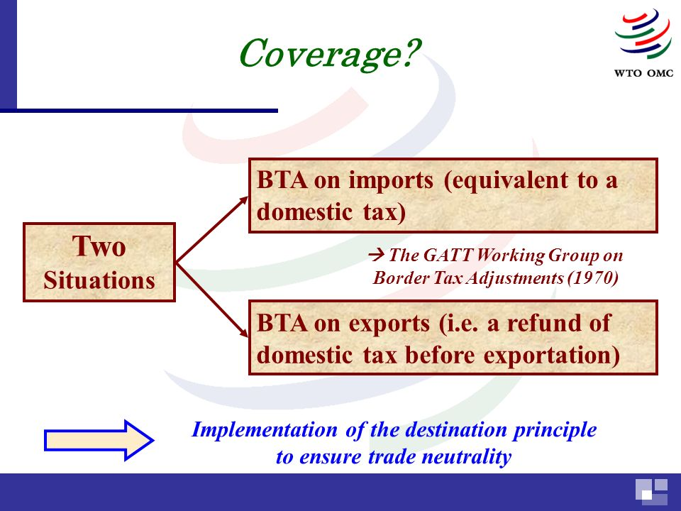 Two Situations BTA on imports (equivalent to a domestic tax) BTA on exports (i.e.