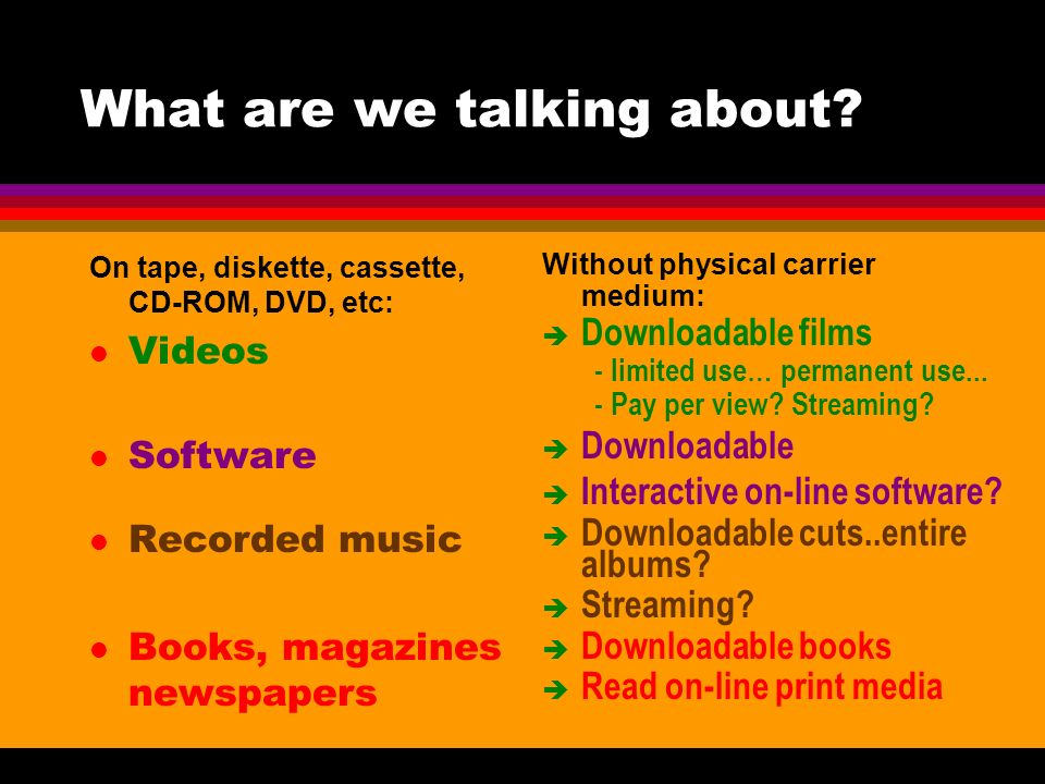 What are we talking about? On tape, diskette, cassette, CD-ROM, DVD, etc: l Videos l Software l Recorded music l Books, magazines newspapers Without p
