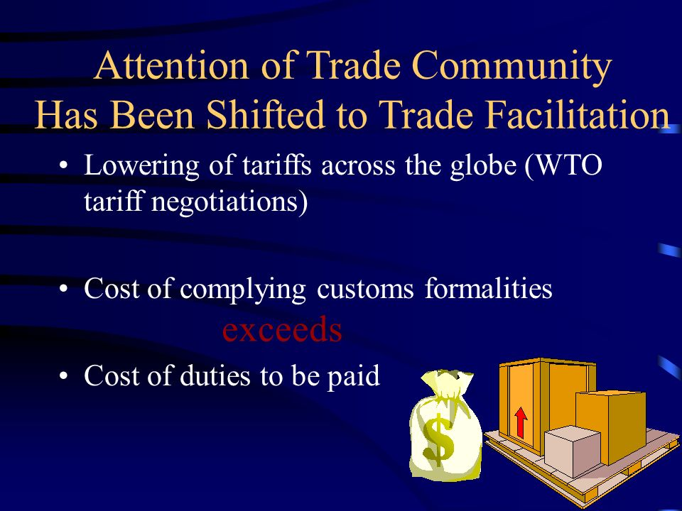 Attention of Trade Community Has Been Shifted to Trade Facilitation Lowering of tariffs across the globe (WTO tariff negotiations) Cost of complying customs formalities Cost of duties to be paid exceeds