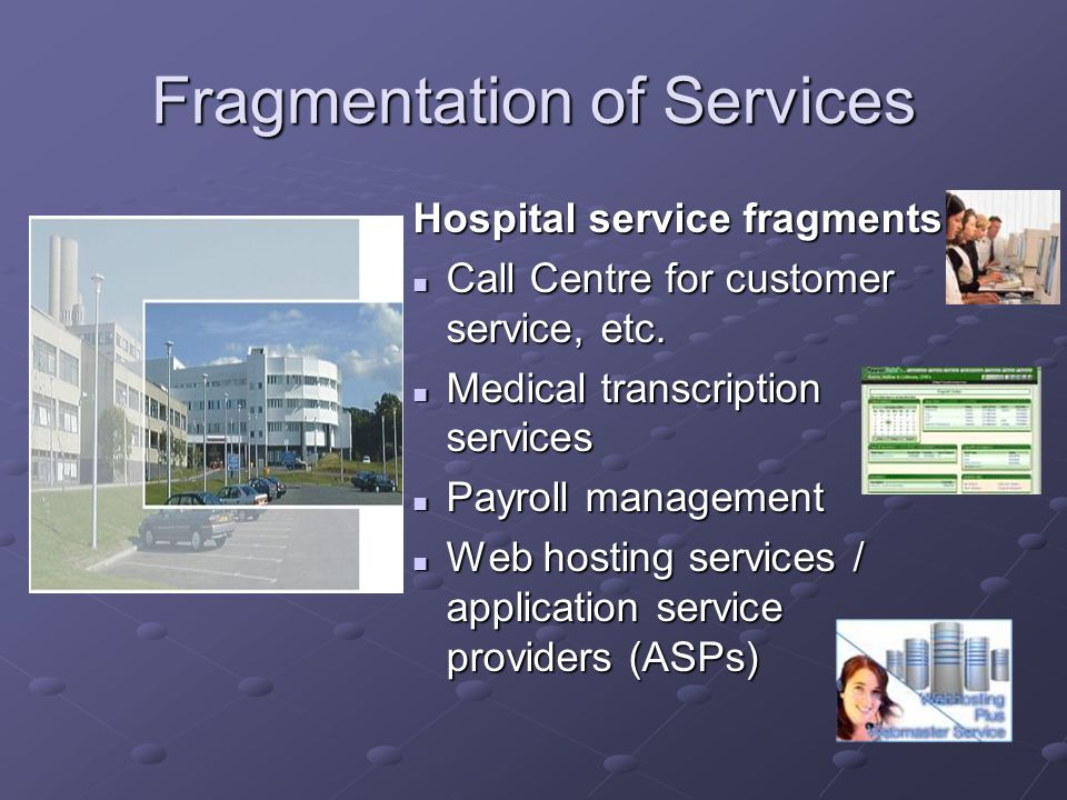 Fragmentation of Services Hospital service fragments Call Centre for customer service, etc.