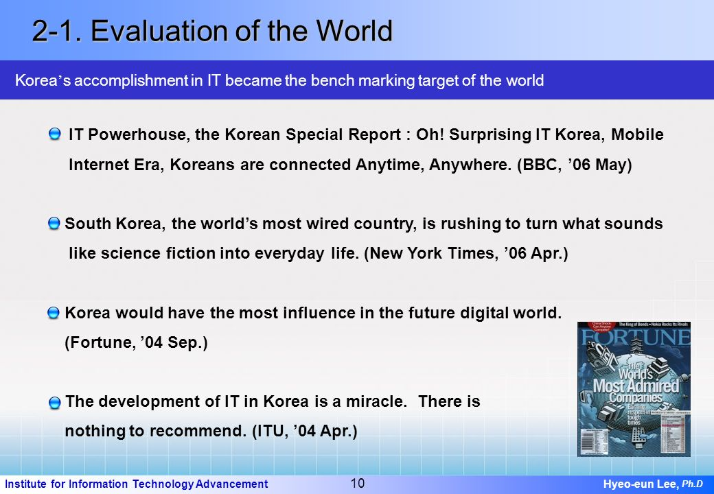 9 Institute for Information Technology Advancement Hyeo-eun Lee, Ph.D Korea is top-ranked in major IT indices 2-1. Evaluation of the World Technologic