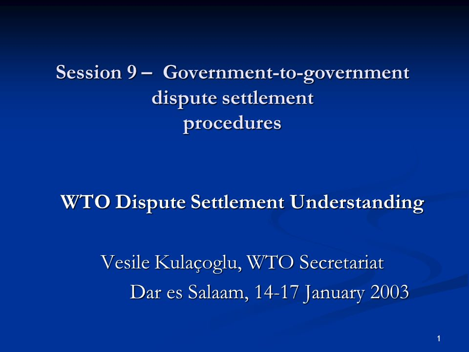 1 Session 9 – Government-to-government dispute settlement procedures WTO Dispute Settlement Understanding Vesile Kulaçoglu, WTO Secretariat Dar es Salaam, January 2003