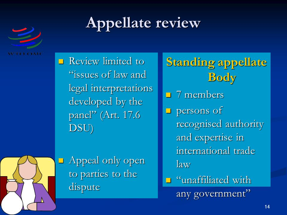 14 Appellate review Review limited to issues of law and legal interpretations developed by the panel (Art.