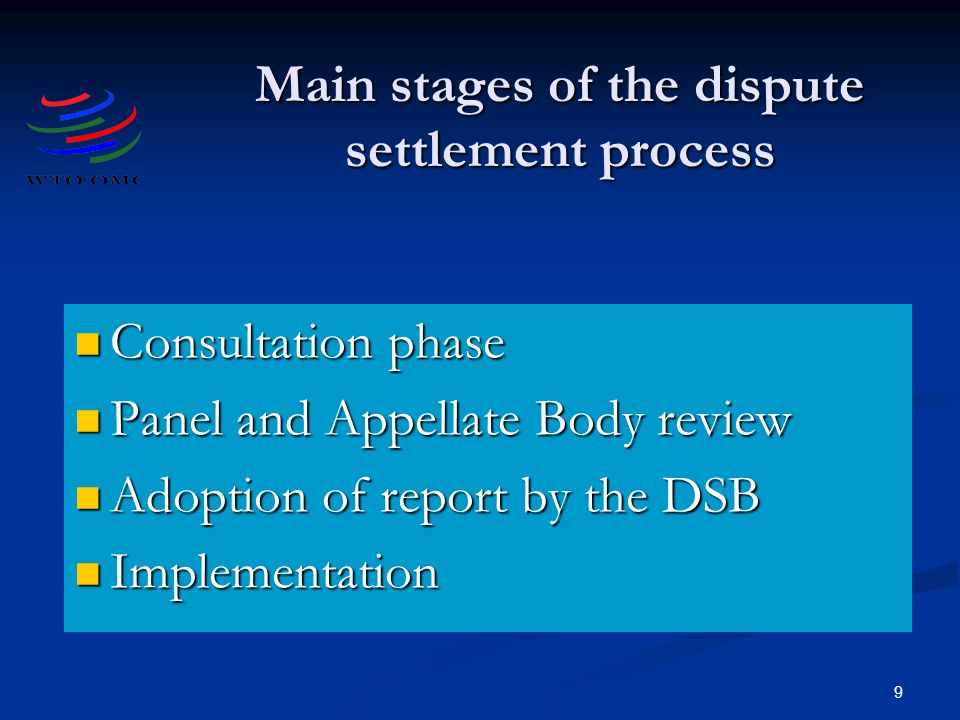 9 Main stages of the dispute settlement process Consultation phase Consultation phase Panel and Appellate Body review Panel and Appellate Body review Adoption of report by the DSB Adoption of report by the DSB Implementation Implementation