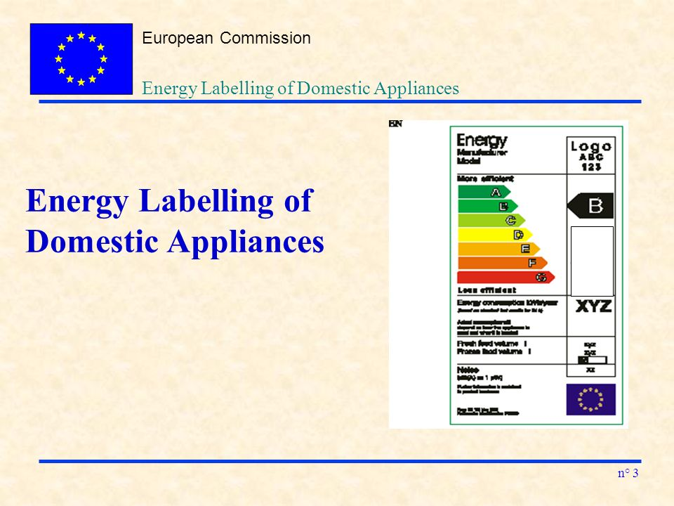European Commission n° 3 Energy Labelling of Domestic Appliances Energy Labelling of Domestic Appliances