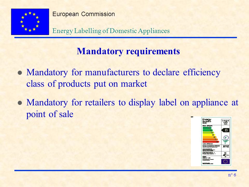 European Commission n° 6 Energy Labelling of Domestic Appliances Mandatory requirements l Mandatory for manufacturers to declare efficiency class of products put on market l Mandatory for retailers to display label on appliance at point of sale