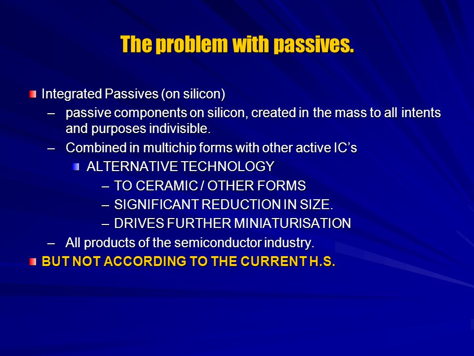 The problem with passives. Integrated Passives (on silicon) –passive components on silicon, created in the mass to all intents and purposes indivisibl