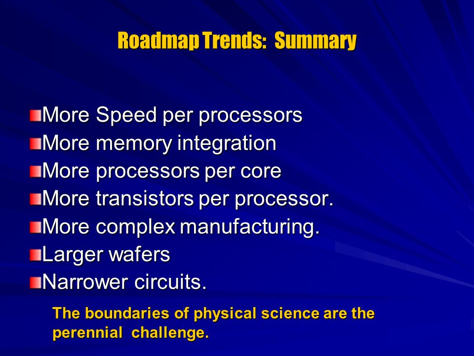 Roadmap Trends: Summary More Speed per processors More memory integration More processors per core More transistors per processor. More complex manufa