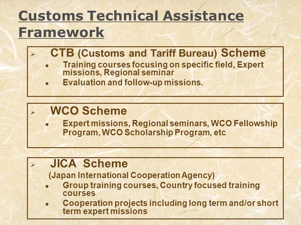 Japans Contribution through the CTB scheme (Overview) The CTB scheme started in 1996, with a view to providing partner countries with flexible and tailor made assistances, which also complement the other two schemes.