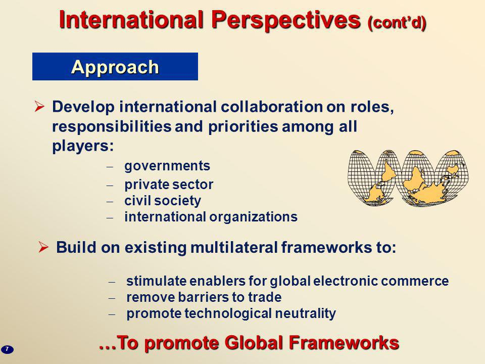 International perspectives Electronic commerce is inherently global Public or private sector activities will only be effective if they facilitate a gl