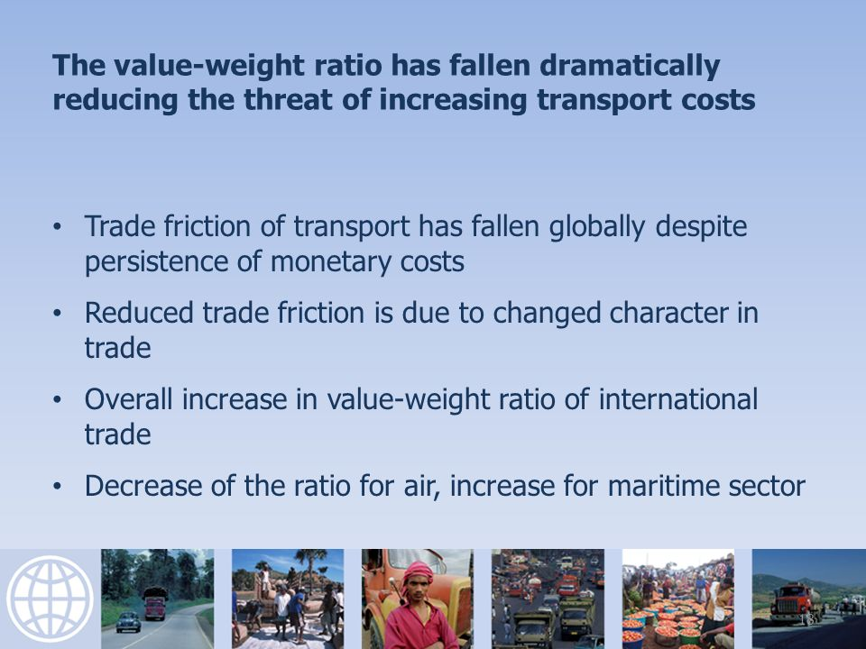 The value-weight ratio has fallen dramatically reducing the threat of increasing transport costs Trade friction of transport has fallen globally despite persistence of monetary costs Reduced trade friction is due to changed character in trade Overall increase in value-weight ratio of international trade Decrease of the ratio for air, increase for maritime sector 18