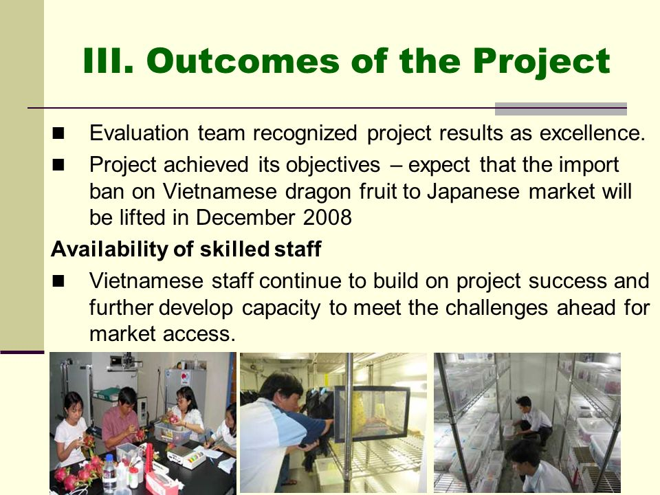 III. Outcomes of the Project Evaluation team recognized project results as excellence. Project achieved its objectives – expect that the import ban on