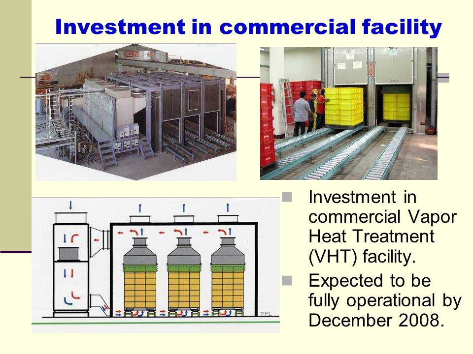 Investment in commercial facility Investment in commercial Vapor Heat Treatment (VHT) facility. Expected to be fully operational by December 2008.