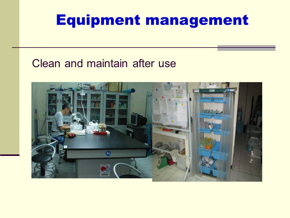Clean and maintain after use Equipment management