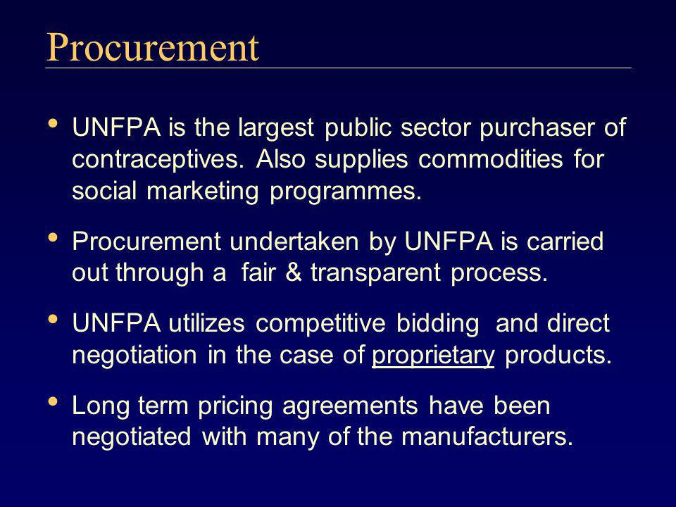 Procurement UNFPA is the largest public sector purchaser of contraceptives. Also supplies commodities for social marketing programmes. Procurement und