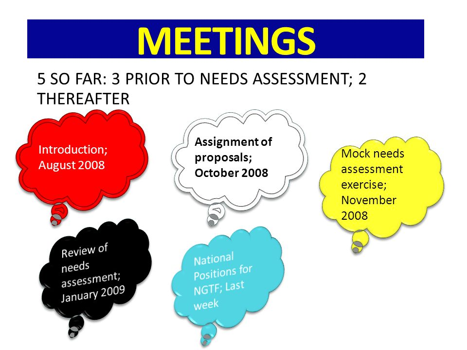 MEETINGS 5 SO FAR: 3 PRIOR TO NEEDS ASSESSMENT; 2 THEREAFTER Introduction; August 2008 Assignment of proposals; October 2008 Mock needs assessment exercise; November 2008