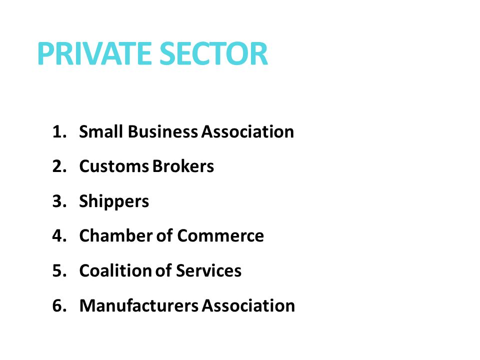 1.Small Business Association 2.Customs Brokers 3.Shippers 4.Chamber of Commerce 5.Coalition of Services 6.Manufacturers Association PRIVATE SECTOR