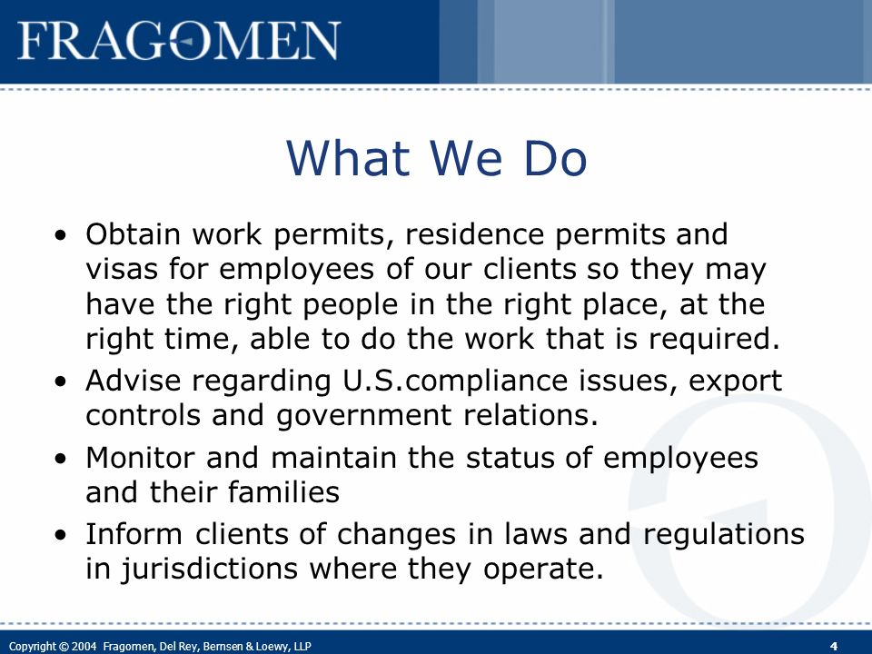 Copyright © 2004 Fragomen, Del Rey, Bernsen & Loewy, LLP 5 The Employers Perspective Types of employee hires and transfers Goal: international mobility for highly- skilled workers Barriers to global mobility Experience under the NAFTA Suggestions for negotiations