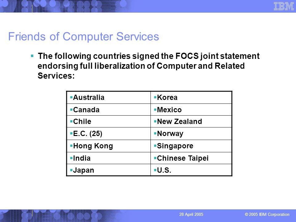 © 2005 IBM Corporation 28 April 2005 Friends of Computer Services Australia Korea Canada Mexico Chile New Zealand E.C.