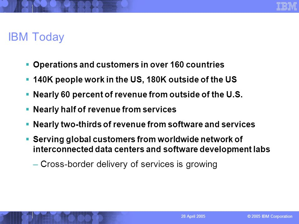 © 2005 IBM Corporation 28 April 2005 IBM Today Operations and customers in over 160 countries 140K people work in the US, 180K outside of the US Nearly 60 percent of revenue from outside of the U.S.