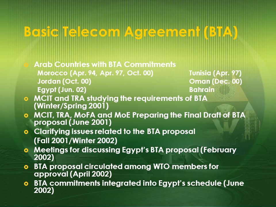 Basic Telecom Agreement (BTA) Arab Countries with BTA Commitments Morocco (Apr.