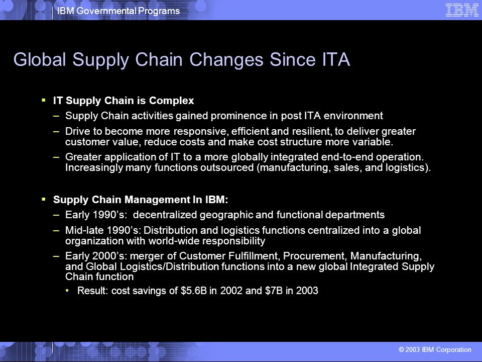 IBM Governmental Programs © 2003 IBM Corporation Global Supply Chain Changes Since ITA IT Supply Chain is Complex –Supply Chain activities gained prom