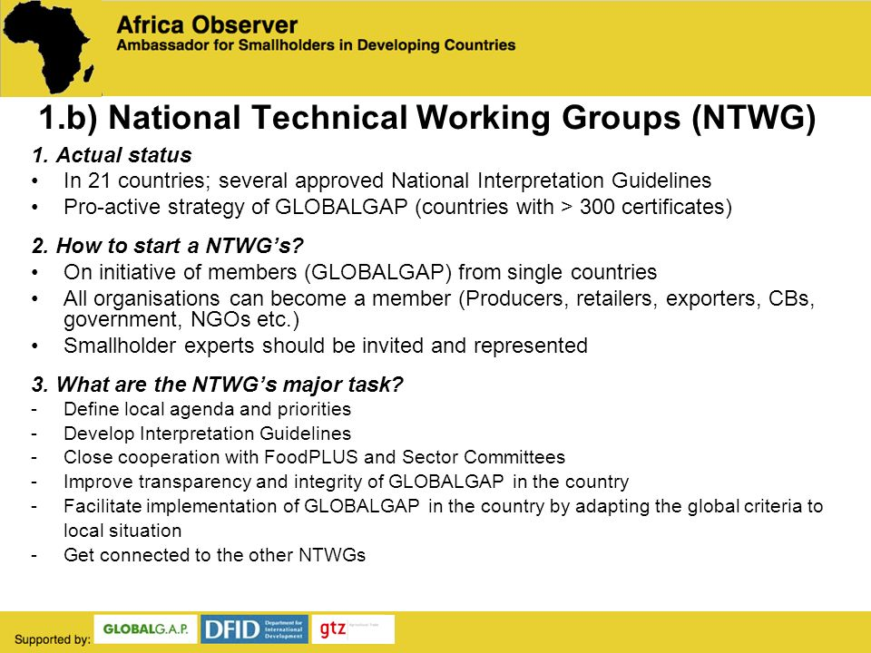 1.b) National Technical Working Groups (NTWG) 1.