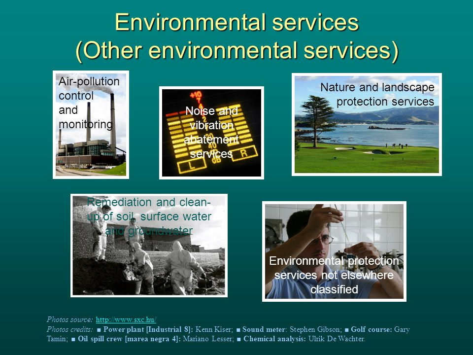 Environmental services (Other environmental services) Nature and landscape protection services Noise and vibration abatement services Air-pollution control and monitoring Environmental protection services not elsewhere classified Remediation and clean- up of soil, surface water and groundwater Photos source:   Photos credits: Power plant [Industrial 8]: Kenn Kiser; Sound meter: Stephen Gibson; Golf course: Gary Tamin; Oil spill crew [marea negra 4]: Mariano Lesser; Chemical analysis: Ulrik De Wachter.