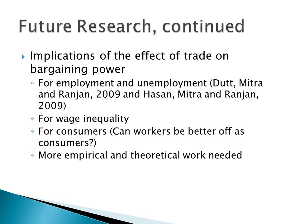 Implications of the effect of trade on bargaining power For employment and unemployment (Dutt, Mitra and Ranjan, 2009 and Hasan, Mitra and Ranjan, 200