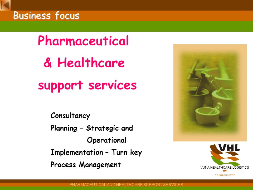 VUNA HEALTHCARE LOGISTICS A THEBE COMPANY PHARMACEUTICAL AND HEALTHCARE SUPPORT SERVICES Session V – Market Segmentation: Techniques,Actors & Incentiv