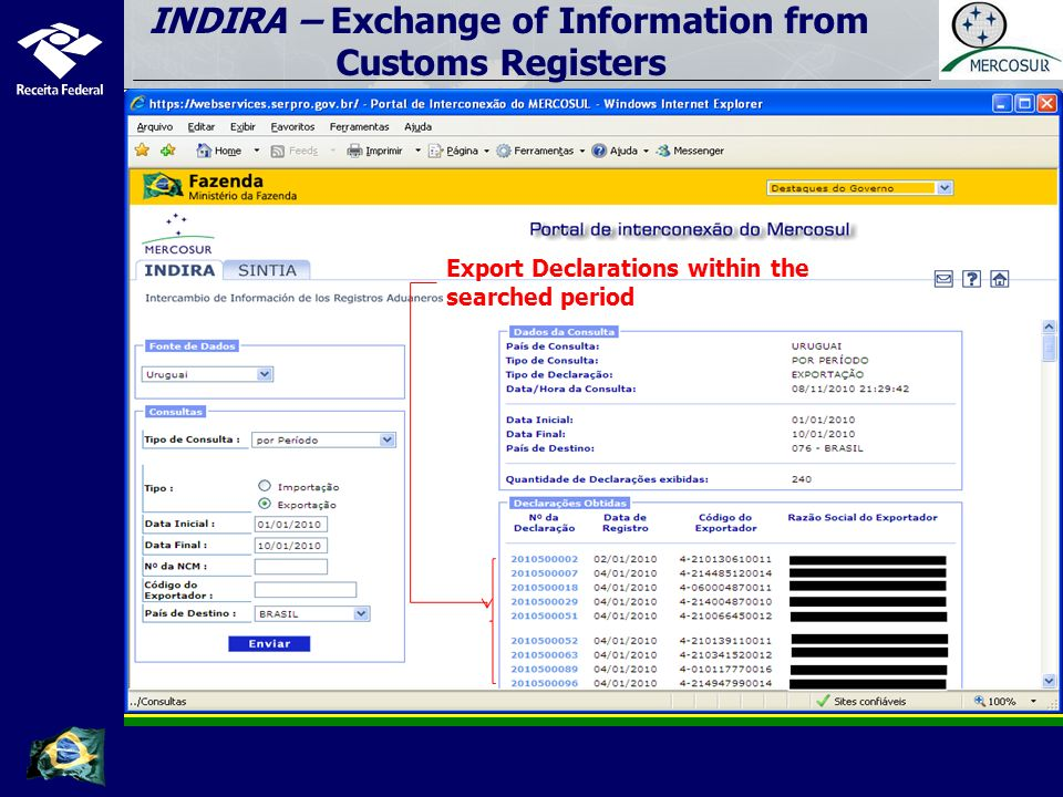 Search by importation linked to an exportation Country providing the information (importer/Uruguay) Export Declaration (Brazil) INDIRA – Exchange of Information from Customs Registers