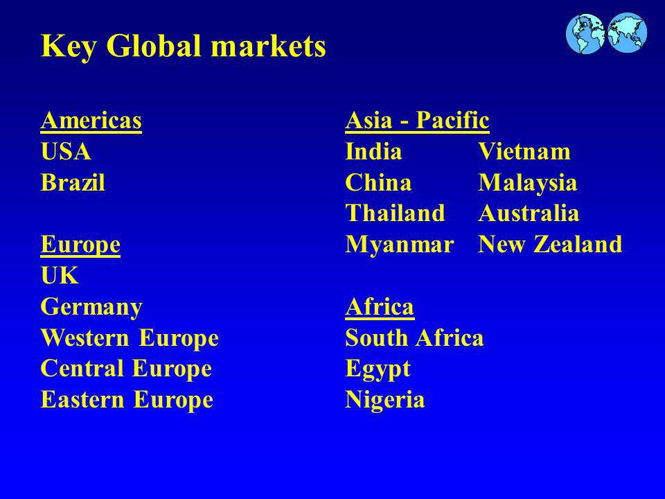 Key Global markets Americas USA Brazil Europe UK Germany Western Europe Central Europe Eastern Europe Asia - Pacific IndiaVietnam ChinaMalaysia ThailandAustralia MyanmarNew Zealand Africa South Africa Egypt Nigeria
