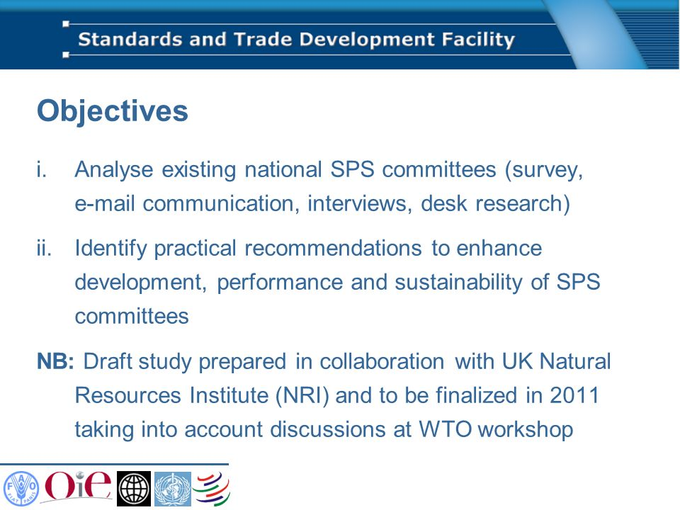 Outcomes (1) Only one country (out of 17) rates SPS committee as satisfactory Unclear organizational mandates Out-dated legislation Limited SPS awareness at all levels Inadequate resources Lack of trust, transparency Difficulties in involving private sector (and academia, consumer organizations, etc.)