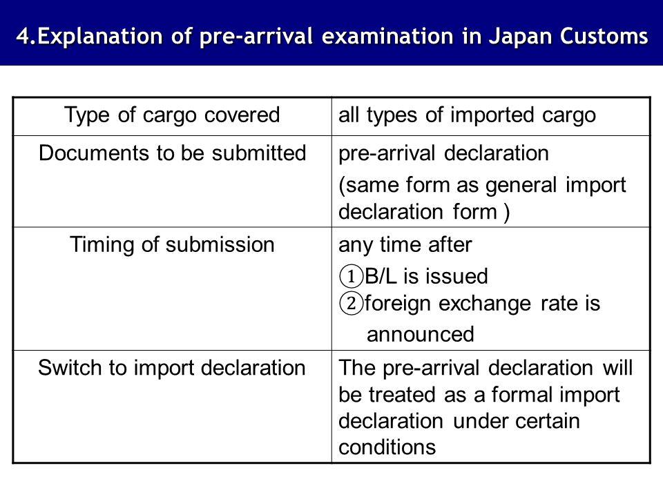 4.Explanation of pre-arrival examination in Japan Customs 4.Explanation of pre-arrival examination in Japan Customs Type of cargo coveredall types of